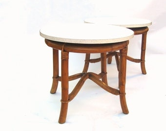 Vintage Bamboo Table Mid century Modern Decor Tiki Bent Bamboo Round Side Tables Tropical Rattan Furniture