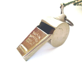 Vintage ACME Thunderer Whistle Green and White Gimp Braided Lanyard Team Sports Coach Gifts for Her Gift for Him