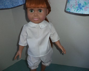 Short Sleeve White Blouse, 18 inch dolls, Ready to Ship