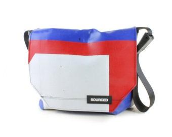 Messenger Bag made from Upcycled Truck Tarp, Water resistant Laptop Bag, Courier Bag, Satchel, Shoulder Bag (N09)