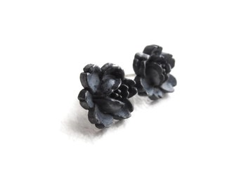 Flower Sterling Silver - black