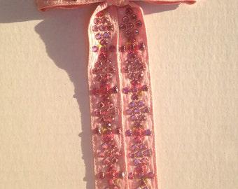 Pink Western Rhinestone Tie