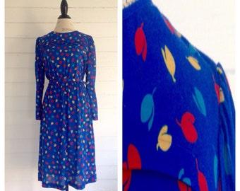 Vintage 1980s ROYAL Blue Dress w/ Retro Floral Buds