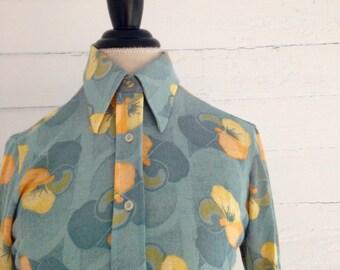 Vintage SEAFOAM Green 1970s Shirt