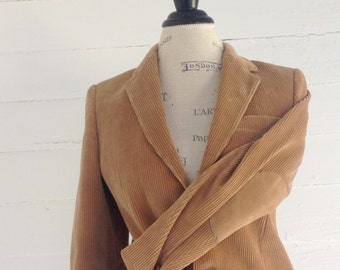 Vintage Men's CAMEL Corduroy Professor's Jacket w Suede Elbow Patches Small