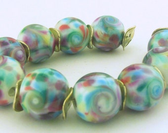 Lampworking Blue, rose, White Frit Glass Round Beads (10)- Gardens Collection - LEteam