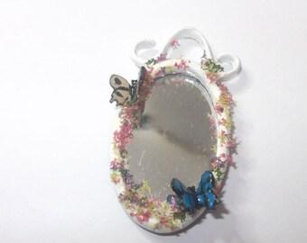 Dollhouse miniature shabby chic mirror, scale 1/12