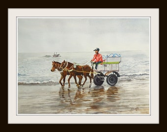 Horse driven carriage on beach - Watercolour Painting