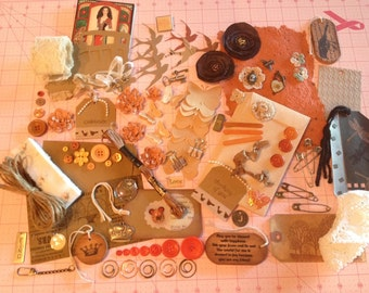 Inspiration Kit, Charms, Lace, Buttons, Tags, Jute, Lace, Fabric and Paper Flowers, Die Cuts, Envelope, Clips, Pins, WoodTags, Embellishment