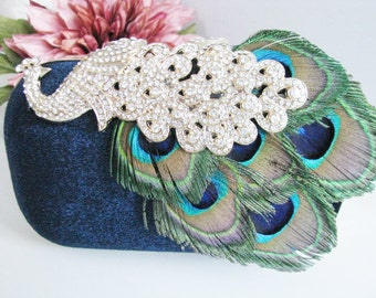 Hard Case Fabric Wedding Bag Clutch Formal Evening Bag with  Crystals Peacock fashion bag