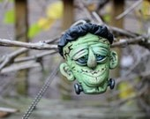 Frankenstein Head Pendant Polymer Clay