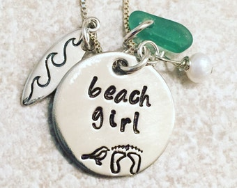 Surfer Girl Necklace, Surf Board Necklace, Sea Glass Necklace, Beach Girl Necklace, Ocean Necklace, Surfer Girl, nataashaloha
