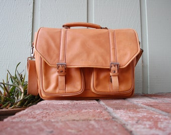 Kenneth Cole New York Tanned Hyde Natural Leather Briefcase Attaches Work Tote Bag Laptop Case Ipad Organizer Crossbody Professional Lawyer