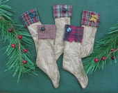 Primitive Christmas Stocking Bowl Fillers - Set of  5 - Holiday Stockings - Muslin Fabric with Homespun Cuff - Buttons,Bells & Star Trim