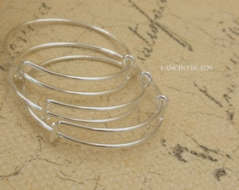 Mini size 40mm-15 pcs  silver plating adjustable  basic bangles wired bracelet findings-F1649