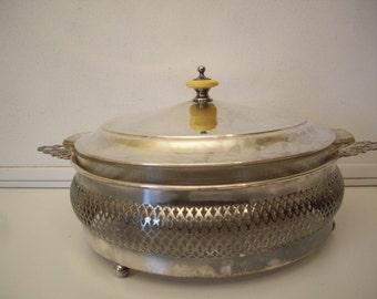 Vintage Pierced Silverplate Casserole Server // Pyrex Insert // Celluloid Knob //