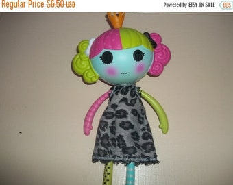 Lalaloopsy Doll Dress handmade gray and black with dots