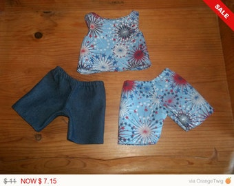 American 18 Inch Doll clothes top and two pairs shorts red white and blue