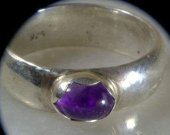 Bezel set amethyst ring.