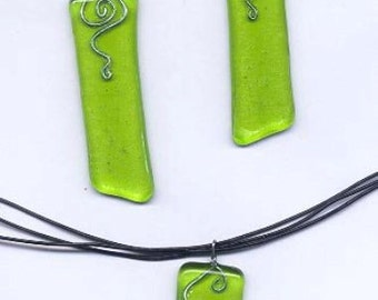 Fused Spring Green Glass & Fine Silver