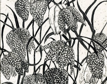 Fritillaria Blank  Art Card of original Scraperboard