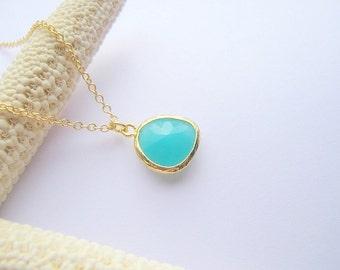 Mint Blue Pendant Necklace / Drop Necklace / Mint Blue Gold  / Bridesmaids / Gift / Wedding / Nautical / Beach / Teal / Aqua Dainty