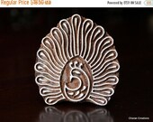 THANKSGIVING SALE Hand Carved Indian Wood Textile Stamp Block- Stylized Dancing Peacock