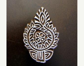 THANKSGIVING SALE Hand Carved Indian Wood Textile Stamp Block- Floral Motif (ON Sale)