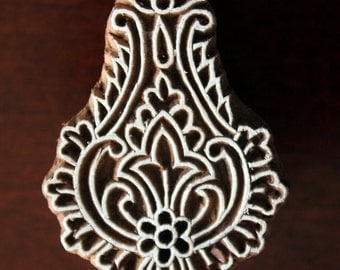 Hand Carved Indian Wood Textile Stamp Block- Baroque/ Damask Design