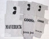Grow with Me Daddy and Son Matching shirts Aviator Sunglasses on Front Maverick and Goose on Back Danger Zone on bum