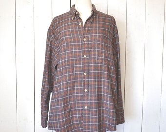 Eddie Bauer Cotton Plaid Flannel 1980s Vintage Purple Button Up Shirt Large XL