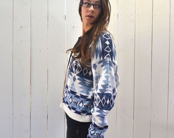 Navajo Cardigan Sweater 80s Vintage Slouchy Blue White Southwest Button Up Knit Sweater
