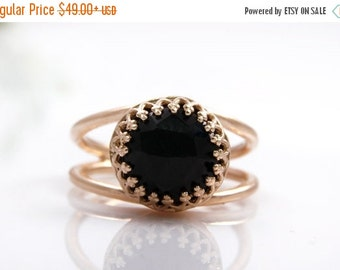 SUMMER SALE - Black onyx ring,rose gold ring,pink gold ring,everyday ring,black diamond ring,faceted gemstone ring