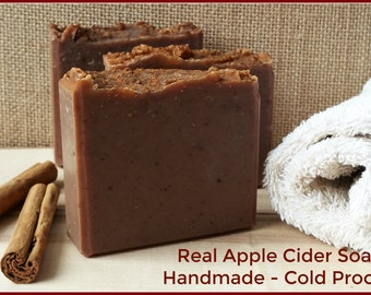 Real Apple Cider Natural Organic Shea Cold Process Soap Bar. Mulled Cider Scent. Vegan. Gluten Free. Cinnamon Spice. 4.5 to 5 oz. Fall Soap