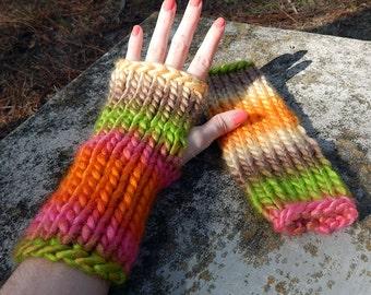 Rainbow Fingerless Gloves, Multicolored Fingerless Gloves - Orange Brown Green Pink