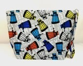 Large Zipper Wedge Bag in Dr. Who Exterminate Dalek Quilting Fabric with Black and White Polka Dot Cotton Lining