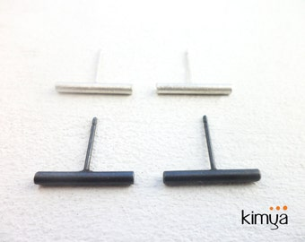 Silver Bar Earrings - Minimalist Stick Stud Earrings - Modern Oxidized Silver Stud - 2 mm Silver Stick Earrings - Contemporary Jewelry