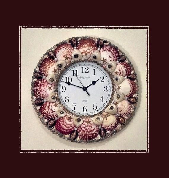Seashell wall clock calico scallops beach theme coastal for Seashell wall clock