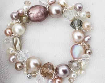 Beige Brown Cream Handmade Beaded Crystal Bracelet