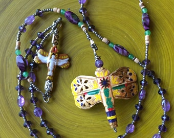 Purple Rondelle and Amethyst Catholic Rosary 5-Decade
