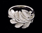 Sterling Silver Stylized Leaf Ring