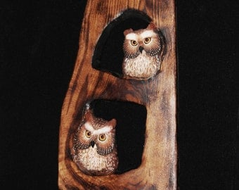 Wood Carving - Bird -  Owl Art - OOAK - Hand Carved and Sculpted