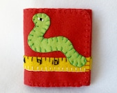 Felt Needle Book, Inch Worm Measuring Tape Case, Soft Red Needle Case, Tri-Fold Needle Book, Magnetic Closure,  Wool Felt, Hand Embroidered