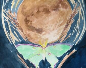 SALE Harvest Moon Luna Moth Original Watercolor