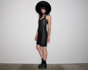 10 DOLLAR SALE Black Lace Dress Sleeveless Floral Grunge 90s Goth Party VTG - Size S/M