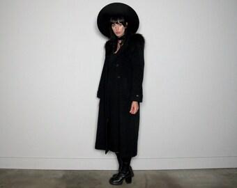 Black FAUX FUR Trim Hood Wool Coat 90s Goth Maxi Length Vintage Size S/M