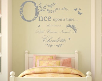 Personalised Name, Once Upon a Time Princess - Wall Art Sticker, Mural, Decal, Girls Bedroom, Nursery, Playroom. Home, Wall Decor