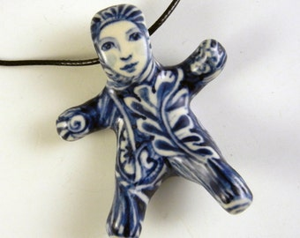 Porcelain doll necklace, blue and white doll, adorable pendant one oƒ a kind