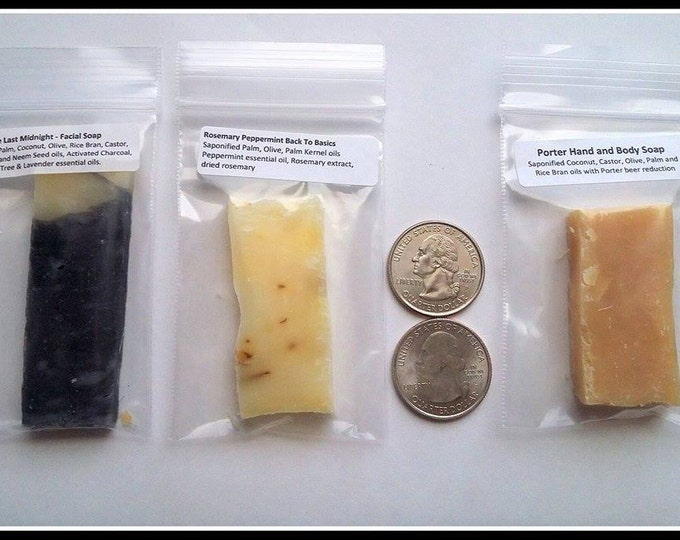 Soapy Sample Pack - 10 samples -- All Natural Soap, Handmade Soap, Barely-Scented Soap, Hot Process Soap, Vegetarian/Vegan Soap, Gift