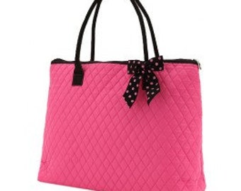 NY Yankees (Hot Pink Bag) Navy BLue Quilted Large Tote Bag Custom Embroidery